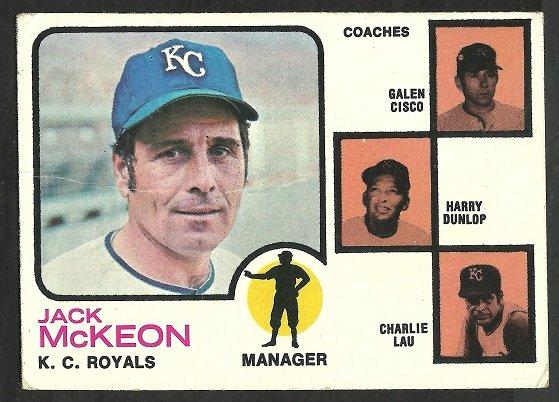 KANSAS CITY ROYALS JACK McKEON & COACHES 1973 TOPPS # 593 G