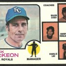 KANSAS CITY ROYALS JACK McKEON & COACHES 1973 TOPPS # 593 G