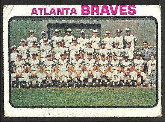 ATLANTA BRAVES TEAM CARD W/ HANK AARON 1973 TOPPS # 521 good