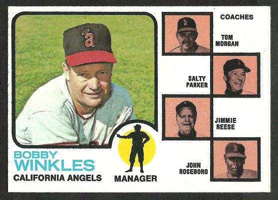 CALIFORNIA ANGELS BOBBY WINKLES 1973 TOPPS # 421 EM/NR MT