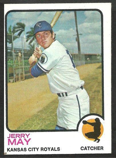 Kansas City Royals Jerry May 1973 Topps Baseball Card 558 ex mt oc