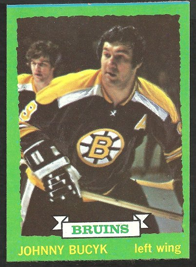 Boston Bruins Johnny Bucyk with Bobby Orr 1973 Topps Hockey Card 26