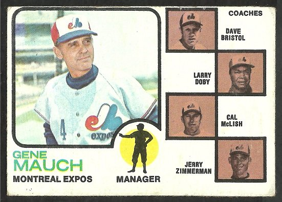Montreal Expos Gene Mauch and Coaches 1973 Topps Baseball Card 377 vg