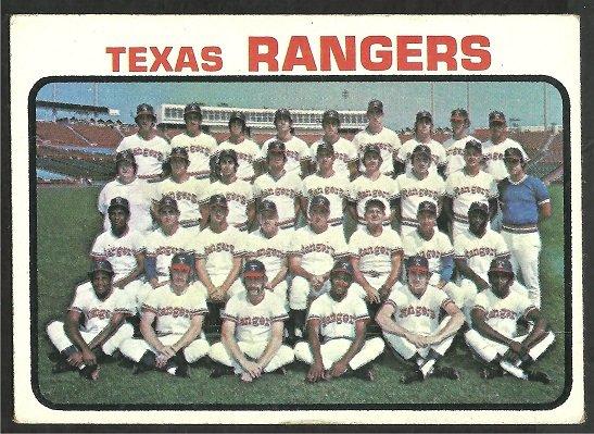 Texas Rangers Team Card with Ted Williams 1973 Topps Baseball Card 7 vg