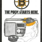 BOSTON BRUINS 1987 POCKET SCHEDULE THE PUCK STARTS HERE BUDWEISER CAMPBELL SPORTS
