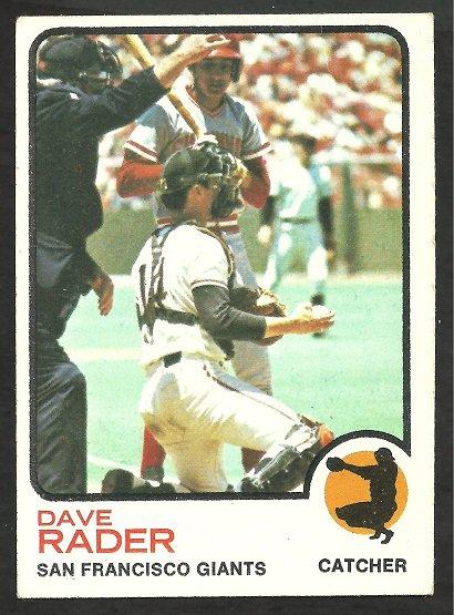 SAN FRANCISCO GIANTS DAVE RADER 1973 TOPPS # 121 VG