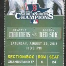 Seattle Mariners Boston Red Sox 2014 Ticket Dustin Ackley HR Kyle Seager Pedroia Mookie Betts