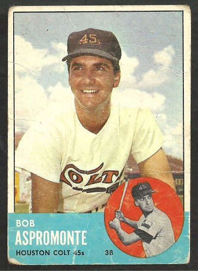 HOUSTON COLT 45s ASTROS BOB ASPROMONTE 1963 TOPPS # 45 good