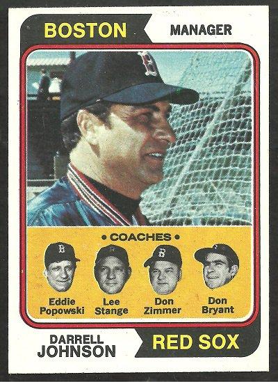 BOSTON RED SOX DARRELL JOHNSON & COACHES 1974 TOPPS # 403 NM