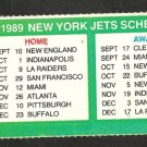 1989 New York Jets Schedule From Season Ticket Sheet