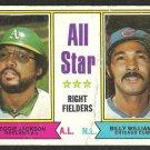 ALL STAR RIGHT FIELDERS ATHLETICS REGGIE JACKSON CHICAGO CUBS BILLY WILLIAMS 1974 TOPPS # 338 fair