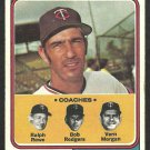 MINNESOTA TWINS FRANK QUILICI & COACHES 1974 TOPPS # 447 VG