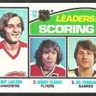 SCORING LEADERS 1976 TOPPS # 3 VG CANADIENS GUY LAFLEUR FLYERS BOBBY CLARKE SABRES GIL PERREAULT