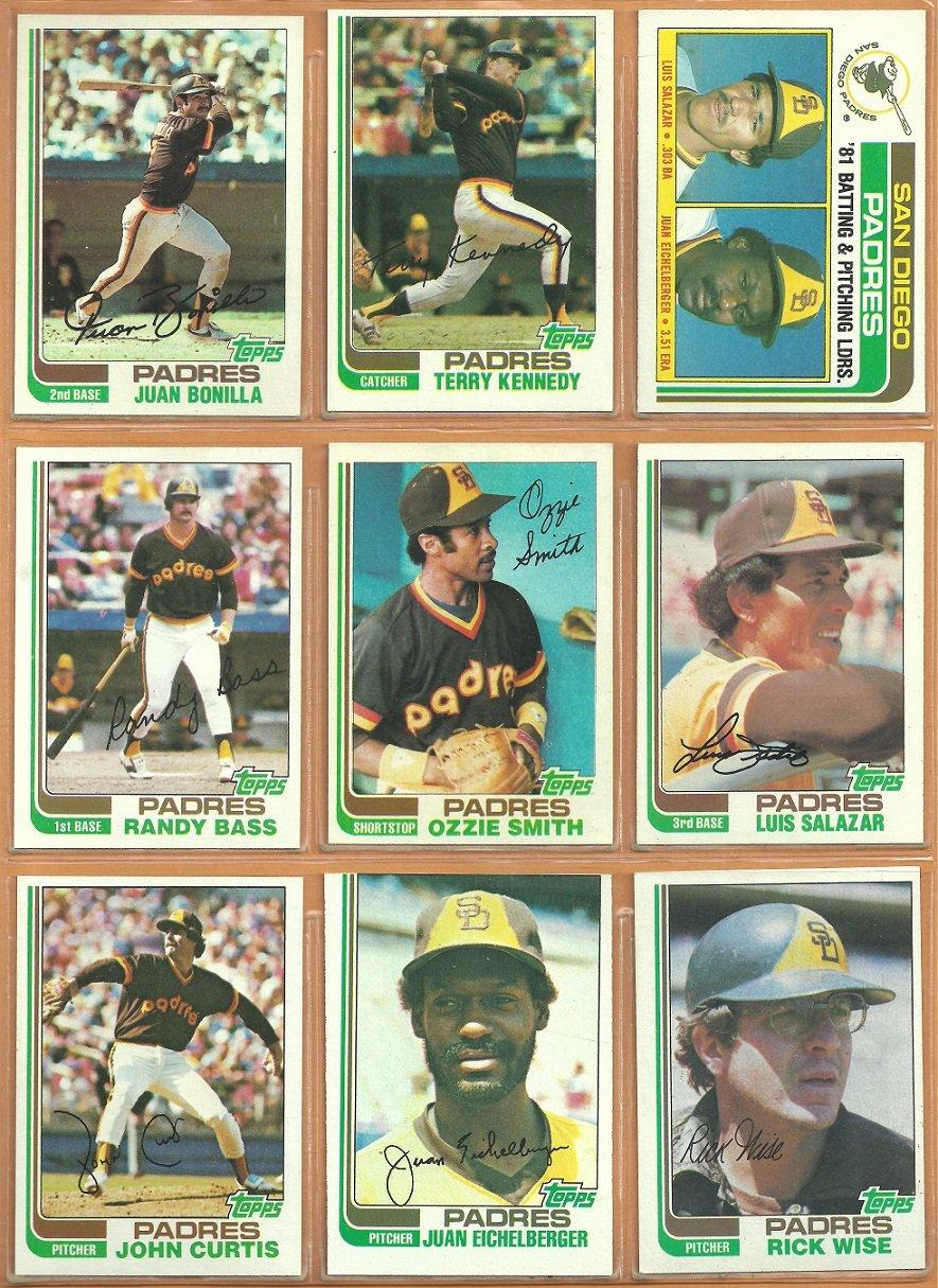 1982 Topps San Diego Padres Team Lot 25 Ozzie Smith Terry Kennedy Randy Bass RC Salazar Bonilla RC