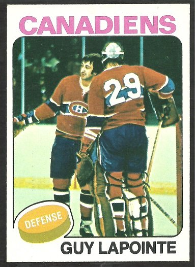 MONTREAL CANADIENS GUY LAPOINTE WITH KEN DRYDEN 1975 TOPPS # 198 EX/EX MT