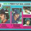PP GOAL LDRS ISLANDERS MIKE BOSSY KINGS MARCEL DIONNE MAPLE LEAFS LANNY McDONALD 1979 TOPPS # 5 em