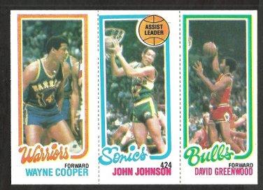 80/81 TOPPS # 95 WARRIORS COOPER 226 SONICS JOHNSON 45 BULLS GREENWOOD