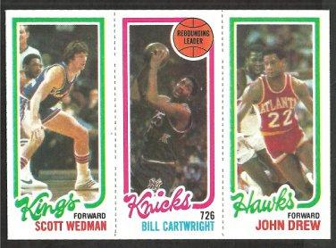 1980 TOPPS # 23 KINGS SCOTT WEDMAN # 164 KNICKS BILL CARTWRIGHT # 131 HAWKS JOHN DREW