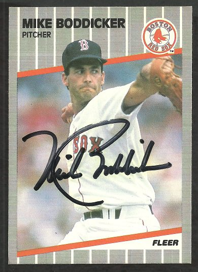 BOSTON RED SOX MIKE BODDICKER AUTOGRAPHED 1989 FLEER # 80