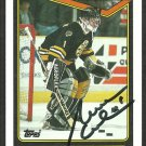 BOSTON BRUINS REJEAN LEMELIN AUTOGRAPHED 1990 TOPPS # 343
