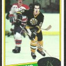BOSTON BRUINS AL SECORD ROOKIE CARD RC 1980 TOPPS # 129