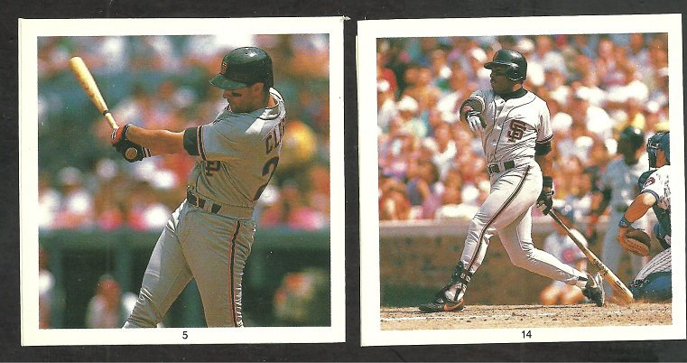 SAN FRANCISCO GIANTS WILL CLARK KEVIN MITCHELL 1991 HIT MEN STICKERS