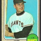 San Francisco Giants Jack Hiatt 1968 Topps Baseball Card # 419 vg/ex