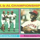 A.L. N.L. CHAMPIONSHIP CINCINNATI REDS JOHNNY BENCH BOSTON RED SOX LUIS TIANT 1976 TOPPS # 461 G/VG