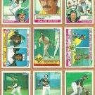 1983 Topps Oakland Athletics Team Lot 26 Rickey Henderson Tony Armas Joe Rudi Billy Martin