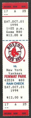 New York Yankees Boston Red Sox 1994 Fenway Park Unused Ticket