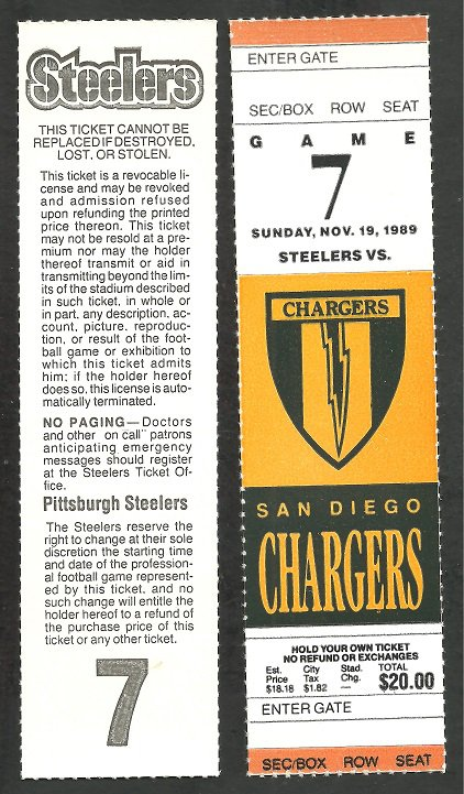 San Diego Chargers Pittsburgh Steelers 1989 Full Ticket printers proof