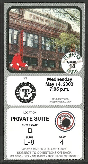 2003 Texas Rangers Boston Red Sox Private Suite Ticket Nomar Garciaparra hr David Ortiz 2 Hits
