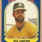 Oakland Athletics Rick Langford 1981 Fleer Star Sticker Baseball Card # 27
