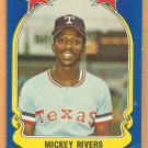 Texas Rangers Mickey Rivers 1981 Fleer Star Sticker Baseball Card # 32