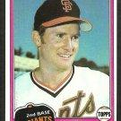 San Francisco Giants Joe Strain 1981 Topps Baseball Card # 361 nr mt