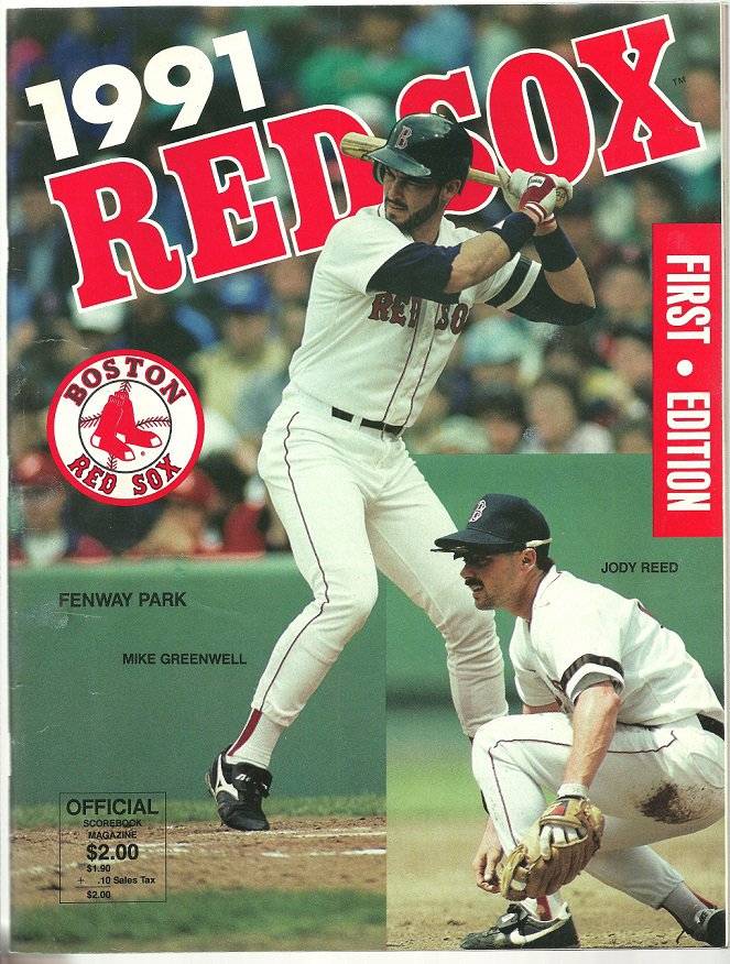 1991 Boston Red Sox Fenway Park Program vs Cleveland Indians Mike Greenwell Jody Reed Cover
