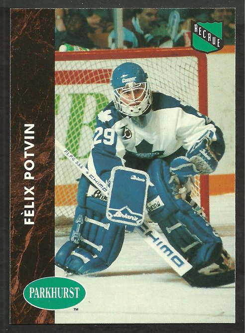 Toronto Maple Leafs Felix Potvin 1991 parkhurst hockey card # 398