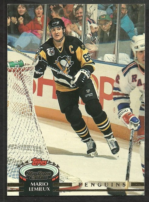 Pittsburgh Penguins Mario Lemieux 1992 Topps Stadium Club Hockey Card # 94