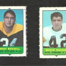 1969 Topps 4 in 1 Stamps Pittsburgh Steelers Andy Russell Dick Hoak