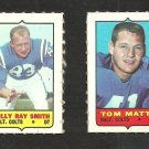 1969 Topps 4 in 1 Stamps Baltimore Colts Tom Matte Billy Ray Smith