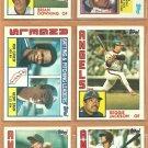 1984 Topps California Angels Team Lot Reggie Jackson Rod Carew tl Tommy John Bob Boone Brian Downing