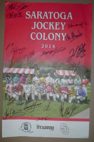 2014 Saratoga Jockey Colony Signed Poster Johnny Velazquez Javier Castellano Alex Solis Irad Ortiz