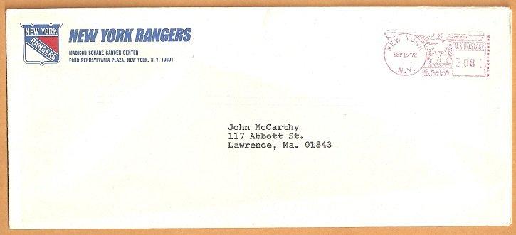 1972 New York Rangers Madison Square Garden Logo Envelope