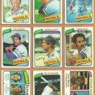 1980 Topps Kansas City Royals Team Lot George Brett Hal McRae Dan Quisenberry RC Amos Otis W Wilson