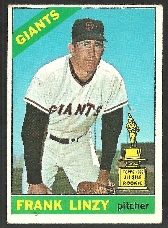 San Francisco Giants Frank Linzy 1966 Topps Baseball Card # 78 vg/ex