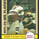 Stanley Cup Game 4 Boston Bruins Ed Westfall New York Rangers Walt Tkaczuk 1972 Topps # 5 ex