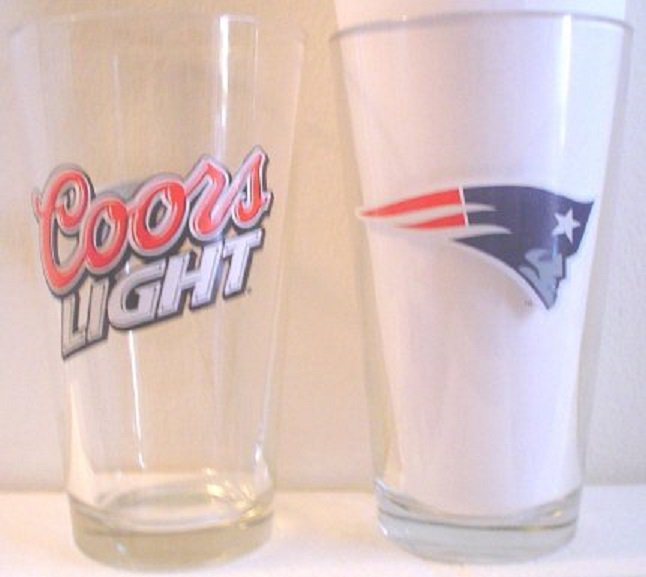 New England Patriots 16 oz Coors Light Draft Beer Glass