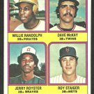 Willie Randolph RC Rookie Card Pirates Twins Atlanta Braves New York Mets 1976 Topps # 592 vg/ex