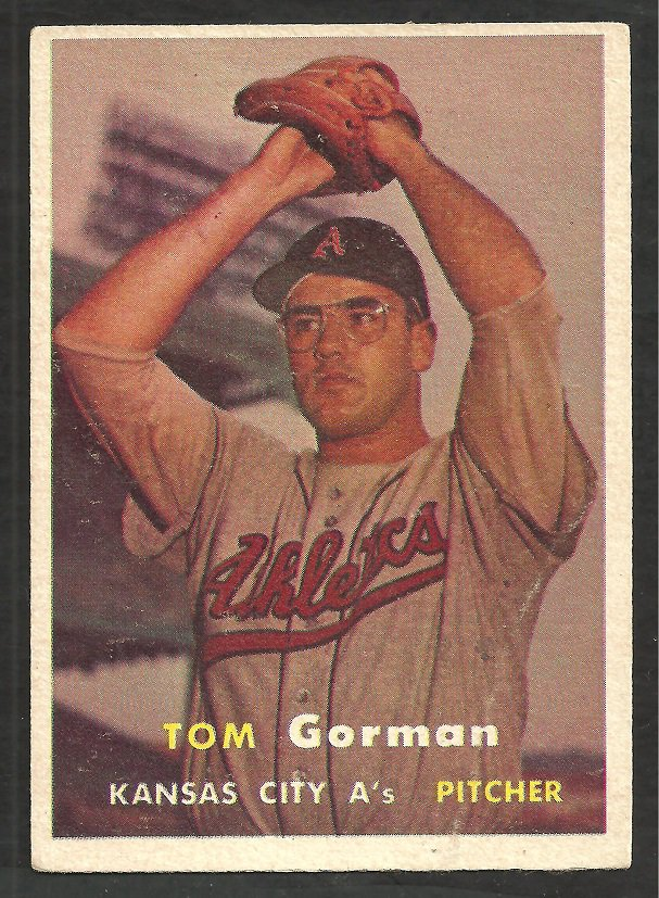 Kansas City Athletics Tom Gorman 1957 Topps Baseball Card # 87 vg