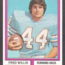 Houston Oilers Fred Willis 1974 Topps Parker Brothers Pro Draft Football Card # 75 ex/em
